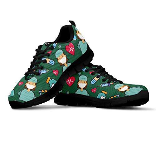Amzbeauty Zapatillas de malla para mujer, para caminar, atlética, correr, ligeras, transpirables, para fitness y jogging, color Verde, talla 39 EU