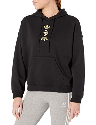 adidas Originals Damen Large Logo Hoodie Sweatshirt, Schwarz/Gold Met