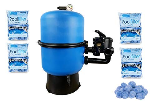 well2wellness Pool Sandfilter Behälter Sandy.Split 2-geteilt Ø 500 mm mit 6-Wege-Ventil Plus 4 x 350g Filtermaterial Fibalon 3D