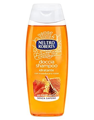 Neutro Roberts Doccia Shampoo Idratante con Miele e Acero Rosso, Profumo Intenso, Ottimo per Detergere Corpo e Capelli, Senza Parabeni e Sapone, Rispetta il pH della Pelle, Flacone da 250 ml