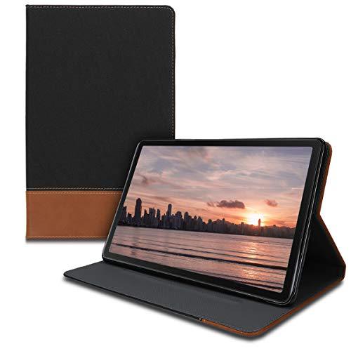 kwmobile Hülle kompatibel mit Samsung Galaxy Tab A 10.1 (2019) - Slim Tablet Cover Hülle Schutzhülle mit Ständer Schwarz Braun