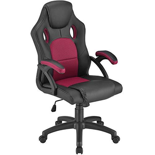 ArtLife Racing Schreibtischstuhl Montreal Bordeaux | Armlehnen gepolstert & ergonomische Rückenlehne | Bürostuhl Drehstuhl Gaming-Stuhl