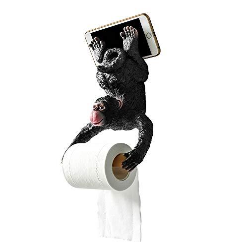 MYXMY Bad-Accessoires Toilettenpapierhalter Wandhalterung Tissue Roll Stand mit Handyhalter, Papierhandtuchhalter, lustige kleine AFFE Design, schwarz