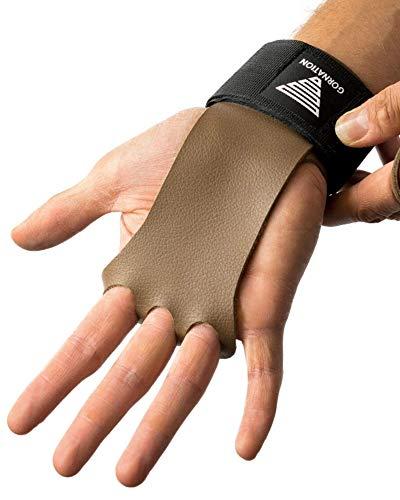 GORNATION® 2-in-1 Leder Pull-Up Grips und Handgelenk-Bandagen - Besserer Halt, geschonte Handflächen & Gelenkschutz bei Calisthenics, Crossfit, Kraftsport & Fitness-Training - für Männer & Frauen