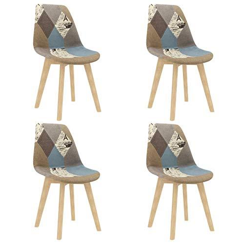 Tidyard Sillas de Comedor 4 Unidades Silla de Escritorio Sillas de Salón Comedor Tela Patchwork Gris 49 x 57 x 82 cm