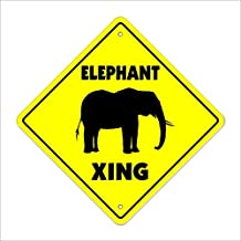Che3423erth Metal Tin Sign Wall Decor Elephant Crossing Sign Tall Zoo Circus Animal African Pachyderm Dumbo 12x12 Inches