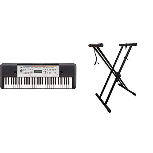 Yamaha Keyboard YPT-260, schwarz – Vielseitiges Einsteiger-Keyboard mit 61 Tasten & zahlreichen Funktionen zum Lernen & RockJam xfinity doppelstrebiger pre hochparametrierbares Keyboard-Ständer