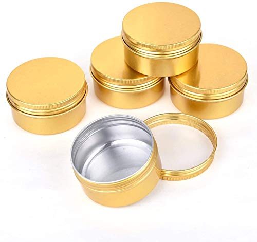 QXcom 5 Oz 6 Pack 150ml Gold Round Aluminum Tin Cans Screw Top Lid Metal Steel Aluminum Tin Empty Cosmetic Sample Container Jar Makeup Storage Box for Salve Crafts Spices Candies Tea Gift Giving