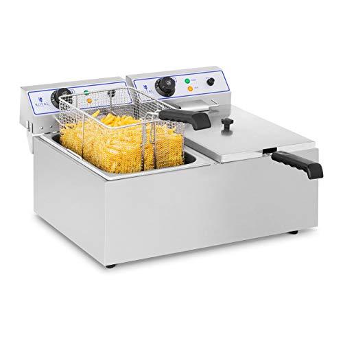 Royal Catering Friteuse Électrique Friteuse Professionnelle Double RCEF 15D (2 x 17 L, 2 x 3.000 W, Thermostat, Température de chauffe 60-200 °C) Acier Inox
