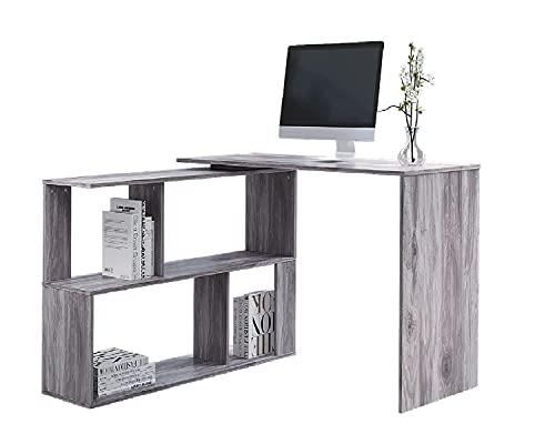 Jooli H L-Shaped Computer Desk, Large Corner Desk with 2-Tier Storage Shelves PC Gaming Desk Writing Workstation for Home Office, Grey
