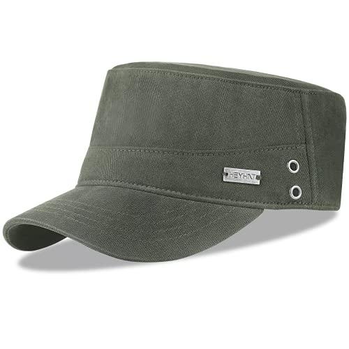 HASAGEI Herren Army Cap Military Cap Basecap Kappe Flat Top Hat Sonnnen Baseball Cap Mütze Verstellbar Vintage Baumwolle