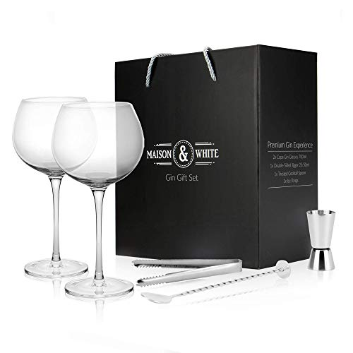 Gin Glas Geschenkset | 2 Gin Gläser, Cocktail Löffel, Zange & Shot Jigger inklusive | Bar Geschenkbox Set | Copa de Balon Gläser | M&W