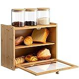 HollyHOME Panera de bambú de 2 capas de gran capacidad, ventanas transparentes, equipado con 3 tarros de vidrio cilíndrico, apto para cocina o mesa de comedor, natural