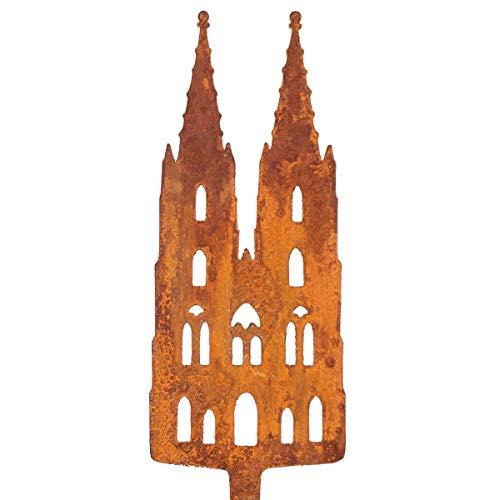 Galionsfigur Kölner Dom | Designer Blumenstecker Edelrost - 30cm hoch, Köln Souvenir, Gastgeschenk, Mitbringsel,Made in Germany