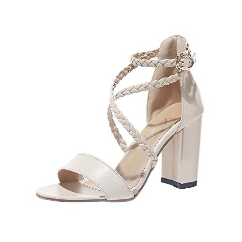 FRAUIT Sandali Estivi Donna Con Tacco Medio E Largo Sandali della Cintura della Caviglia Sandali Ragazza Con Tacco Largo Scarpe Eleganti Con Tacco Medio Da Cerimonia Per Sposi Infradito