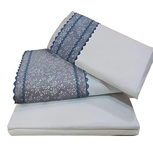 O´Lang -10016- Juego 3 Sábanas Cama 135x190/200 Color Blanco con Greca Estampada en el embozo y la Almohada|Sábana Bajera Ajustable, Encimera y Funda de Almohada (45x150)| 50% Algodón 50% Poliéster.