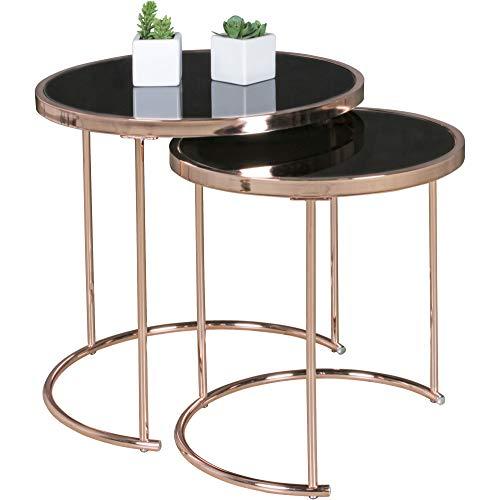 FineBuy Design Couchtisch Deco Glas Kupfer Tisch 2er Set Satztisch Ø 50 & 42 cm | Wohnzimmertisch Glasplatte Schwarz | Beistelltisch Modern verspiegelt | Runder Glastisch Rund Wohnzimmer Metall