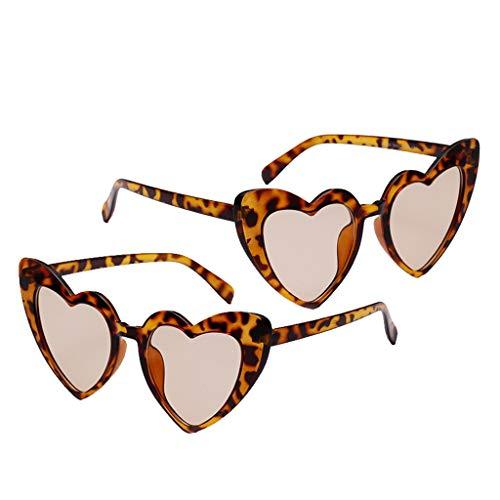 SM SunniMix 2 Piezas de Gafas de Sol con Montura de Corazón Elegante para Mujer, Gafas de Sol de Moda, Gafas de Club