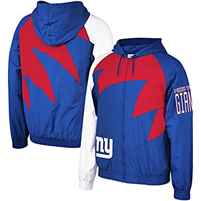 Mitchell & Ness New NY Giants Shark Tooth Full-Zip Jacket Royal/Red Size L