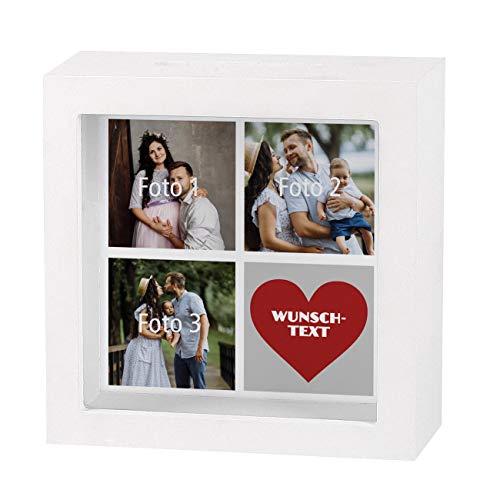 Herz & Heim® Bedruckte Bilderrahmen Spardose mit Foto EIN tolles Geldgeschenk zur Hochzeit