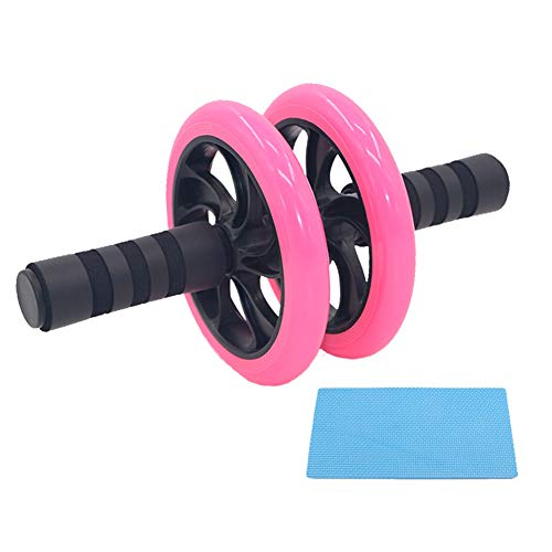 AB Roller Bauchtrainer mit Knieauflage,Bauchmuskeltrainer Roller,Ab Wheel Premium Bauchmuskeltrainer zum Abnehmen und Muskelaufbau Oberschenkel-Training Fitness,Verschleißfest Bauchtrainer Roller,Pink