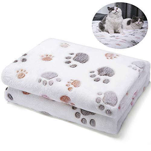 ALLISANDRO 350 GSM-Super Soft and Premium Fuzzy Flannel Fleece Pet Dog Blanket, The Cute Print Design Washable Fluffy Blanket for Puppy Cat Kitten Indoor or Outdoor, Beige, 31' x 24'
