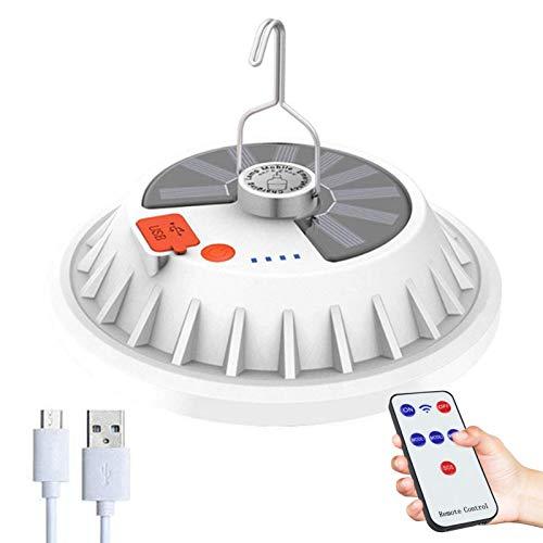Luz solar USB para acampar con control remoto - Lámpara colgante IPX7 impermeable para tienda de campaña para exteriores para acampar, senderismo, apagones, huracanes, carga de emergencia para teléfon