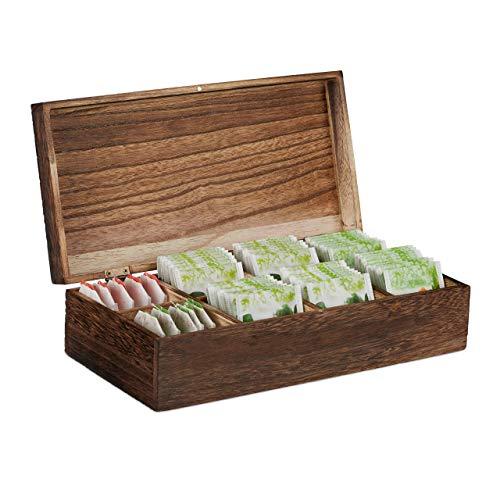 Relaxdays Vintage Teebox, 8 Fächer, für 80 Teebeutel, mit Deckel, Aromaschutz, Holz Teekiste HBT 8,5x30,5x15,5 cm, braun, 15,5 x 30,5 x 8,5 cm