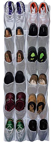 Mirella's House Roomganize Large Shoe Organizer Door Shoe Rack, Sneaker Rack, Men's Shoe Organizer for Big Shoes to Neaten Up Your Closet and as an Entryway Organizer (White)