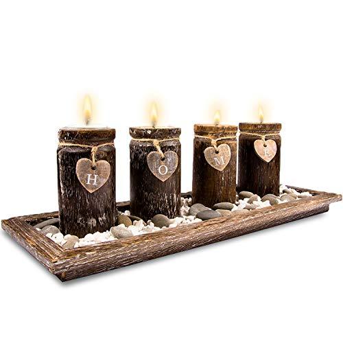 Urhome Teelichthalter Set auf Holz Tablett Tischdeko Advent Kerzenhalter Tischdeko für stimmungsvolle Weihnachten Deko Teelichter