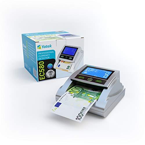 YATEK Detector de Billetes Falsos EC580 con 6 métodos de detección, con batería incluida y Preparado para los nuevos Billetes de 100 y 200€