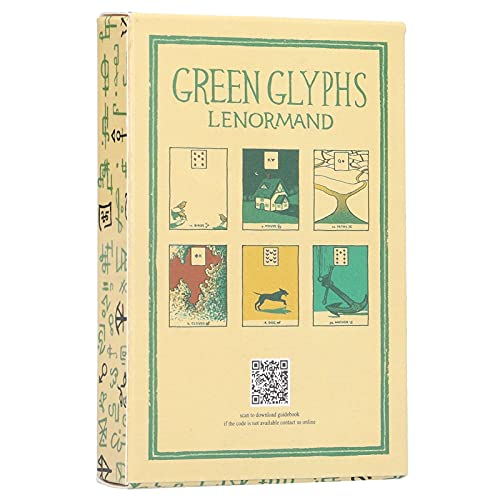 Green Glyphs Cartões Lenormand Oracle Cards, 40 peças de cartas de tarô, adequado para entusiastas de tarô, cartões de adivinhação com caixa colorida para festas de viagem em inglês