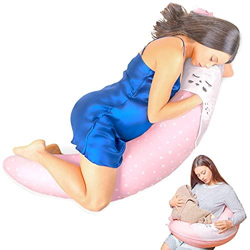 Iwopp® Duo - Almohada de Embarazo con Bolsillo de Nuevo Diseño Para Lactancia de Recién Nacido, Soporte Cervical Lumbar, Hipoalergénico, Desenfundable y Lavable, Idea Regalo Para Madre Rosa
