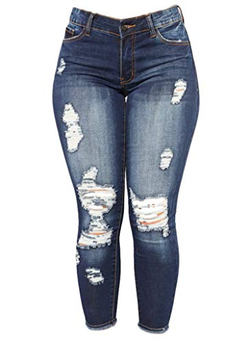Big Save! Andongnywell Womens Juniors Distressed Ripped Boyfriend Skinny Denim Jeans Pants (Blue,Sma...