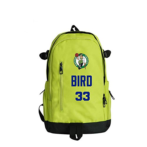 Baloncesto Deportes Mochila Boston Celtics # 33 Joe Larry Bird Los Aficionados De Baloncesto Poliéster Mochila Al Aire Libre Baloncesto Mochila Los Hombres Y Las Mujeres Del Estudiante,Verde