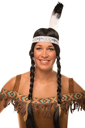 Balinco Indianer Perücke mit Zöpfen im Set in schwarz mit Feder für Herren & Damen Fasching Karneval