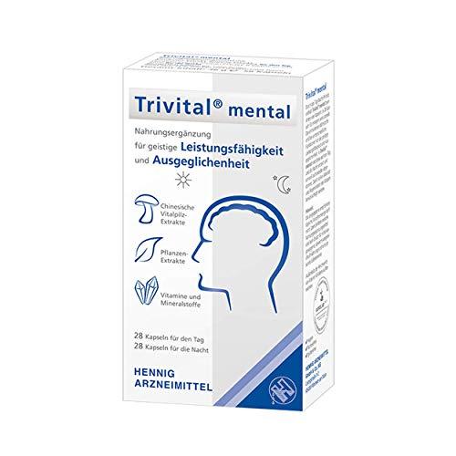 TRIVITAL mental: Für geistige Leistungsfähigkeit und Ausgeglichenheit, vegan, lactosefrei, glutenfrei, 28 Kapseln