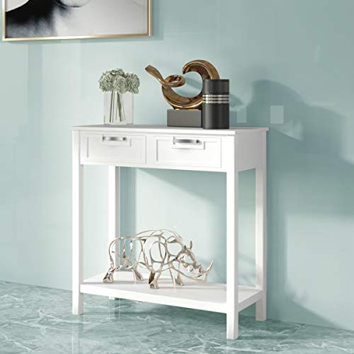 CASART Console Table, Wooden Entryway Side Table with 2 Drawers and Storage Shelf, Vanity Dressing Table Writing Desk Workstation for Living Room Bedroom Hallway Study (White)