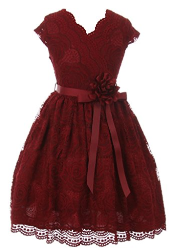 iGirlDress Big Girls Floral Design Lace Easter/Spring Dress Burgundy Size 14
