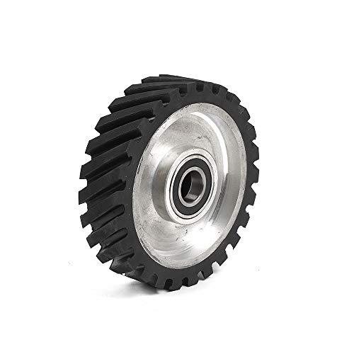 8x2 inch Belt Grinder Rubber Wheel Serrated Rubber Contact Wheel 6206 Bearing Belt Grinder Wheel
