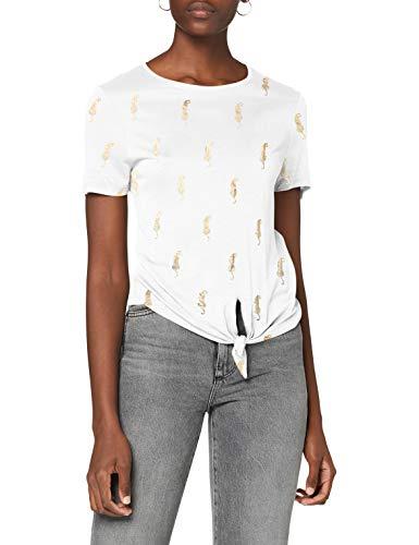 Only ONLBELIS Life S/S Knot Top Box JRS Camiseta sin Mangas, Blanco Brillante, S para Mujer