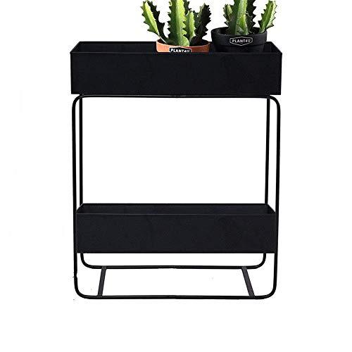GLF Wrought iron plant stand, metal flower pot rack, european style shelf garden decoration, for indoor outdoor plant, black, 62x25x74cm
