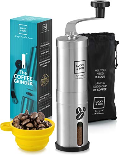 LUCKY & SON Manual Coffee Grinder Hand Crank Conical Coffee Bean Grinder with Adjustable Ceramic Burr, Portable Mini Burr Grinder...
