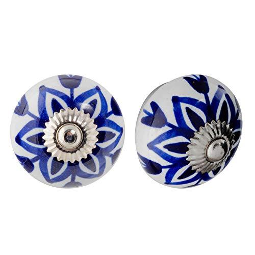 Nicola Spring Möbelknöpfe aus Keramik - Blumendesign - Dunkelblaue Blume - 12 Stück