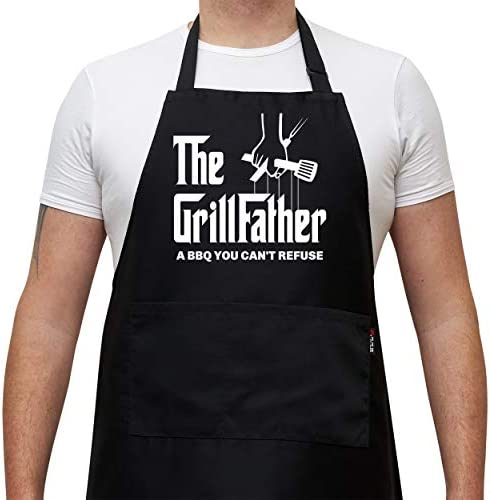 Savvy Designs Aprons for Men Adjustable Black Apron with Pockets The Grill Father A BBQ You product image