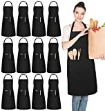 InnoGear 12 Pack Adjustable Bib Aprons, Waterdrop Resistant Apron with 2 Pockets Cooking Kitchen Restaurant Aprons for BBQ Drawing, Women Men Chef (Black)