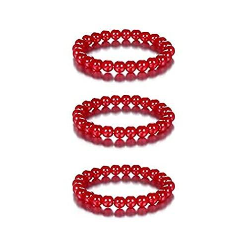TODGAO Pulsera de curación elástica con Cuentas Redondas de cornalina roja, Pulsera de Infrarrojos Triple, Pulsera de energía de Yoga de Piedra de ágata roja Natural para Mujeres y Hombres (3PCS)