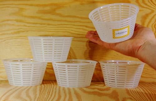 5 x Käseform 12x6.3cm - 0.5kg – Käseformen | Korb | Käseherstellung | Lab
