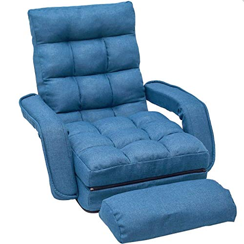 Merax Chaise Lounges Folding Lazy Floor Chair Sofa Lounger Bed with Armrests and a Pillow (Blue)