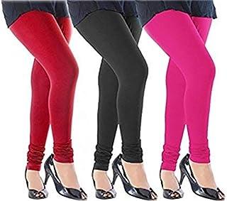 Swastik Stuffs™ Women's Cotton Lycra Leggings(SSLBPR3_Black,Pink,Red_Free Size)(Pack of 3)